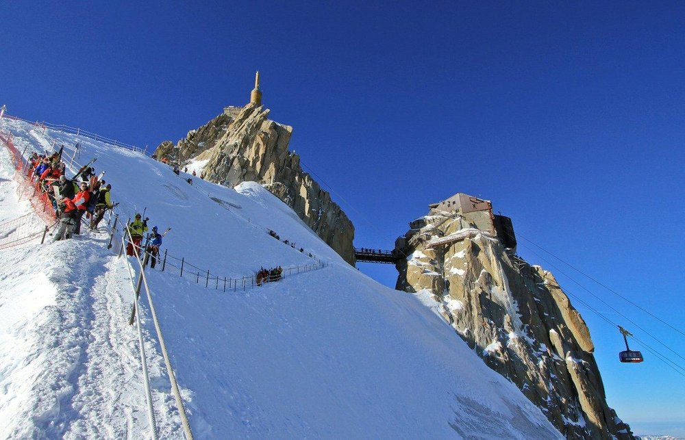 The Aiguille du Midi ski lift in Chamonix, France