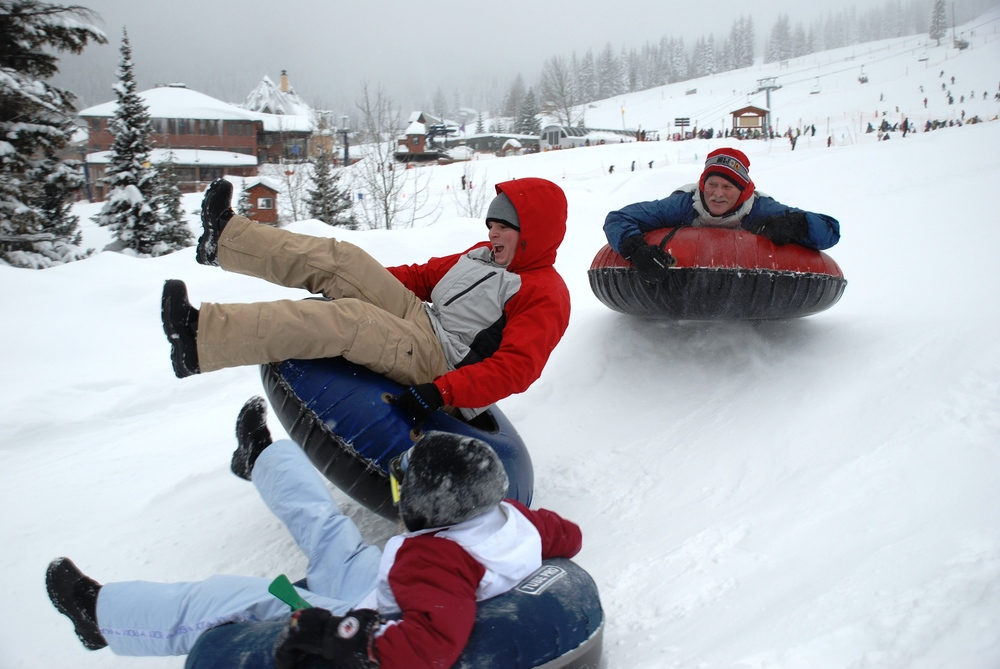 Tubing down the mountain at Schweitzer Mountain, Idaho.