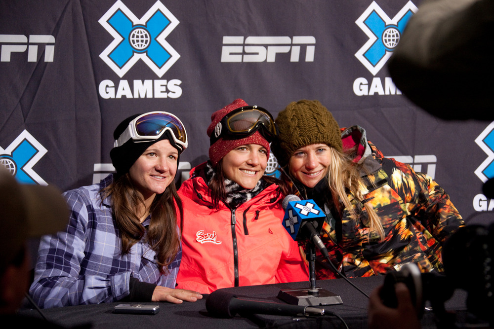 1st, 2nd, and 3rd place skiing Superpipe winners- Kelly Clark, Elena Hight, and Hannah Teter. Photo by Sasha Coben