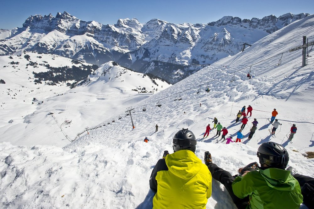 Looking down over The Wall's fearsome verical in the Portes du Soleil - © Portes du Soleil