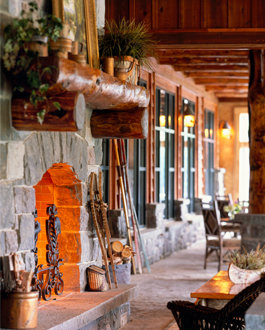 Hearth in meeting space at Whiteface Lodge  - © Whiteface Lodge