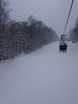 Unbelievable conditions. No one here & it's still snowing hard.