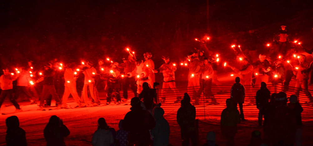 A torchlight parade kicks off the night skiing festivities at Steamboat.  - © Photos courtesy Shannon Lukens.