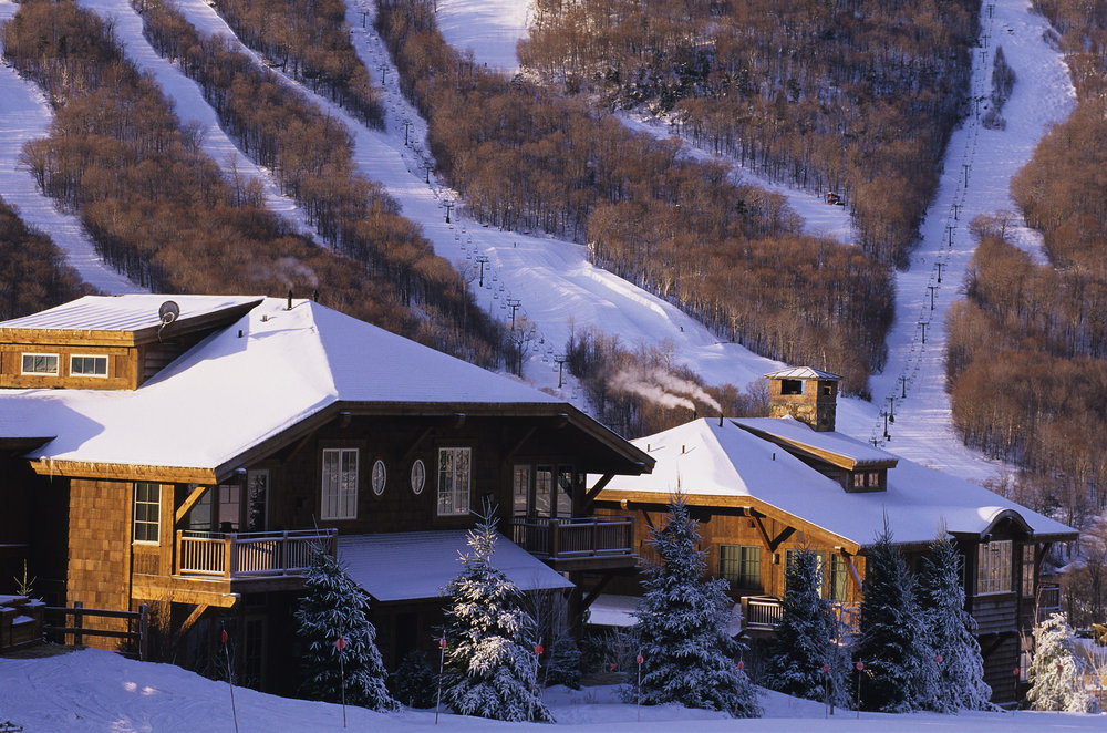 A view of a lodge in Stowe, Vermont