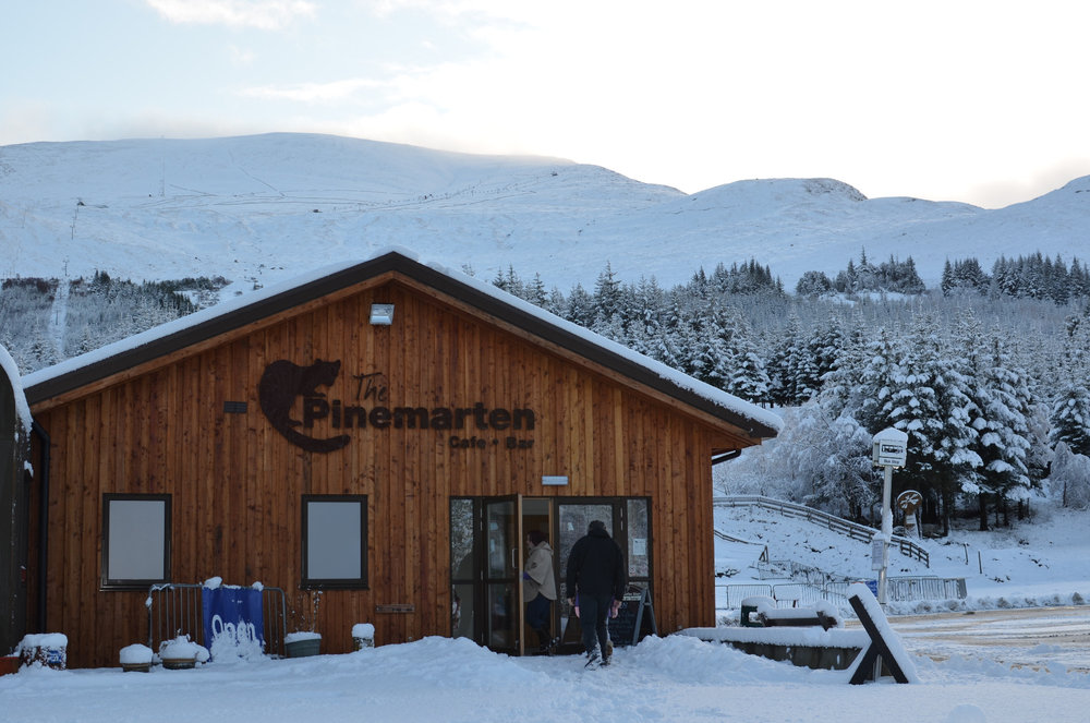 Pinemarten cafe bar at gondola base station in the winter - © Nevis Range