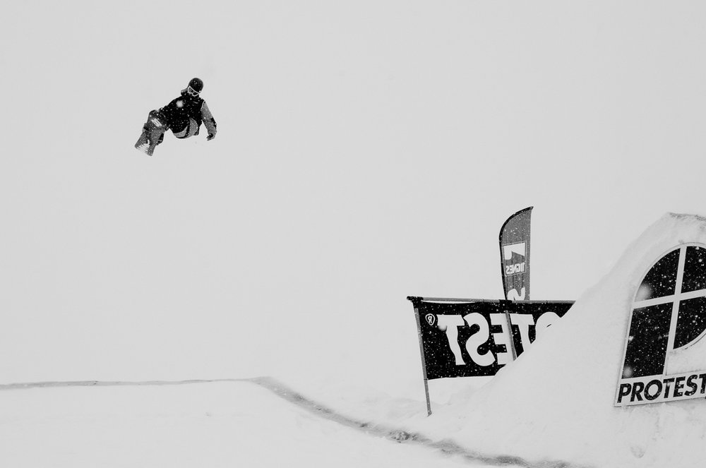 Snowboard slope style bij The BRITS in Tignes, 2013 - © The BRITS