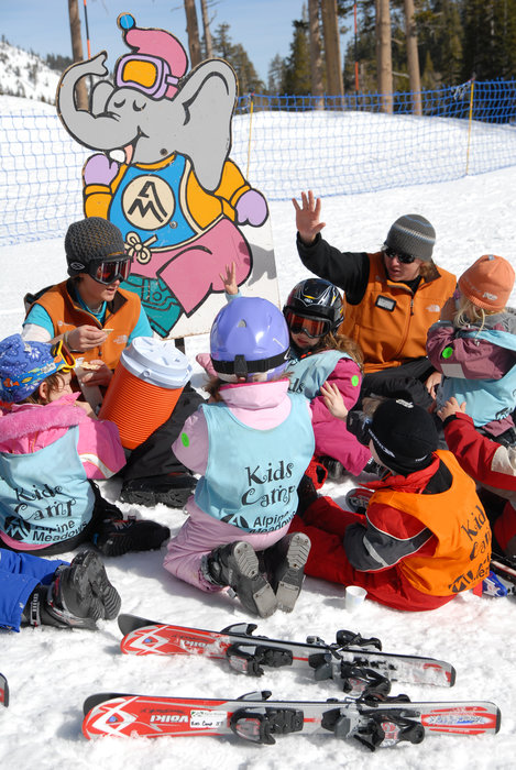 Kids ski school program at Alpine Meadows, California