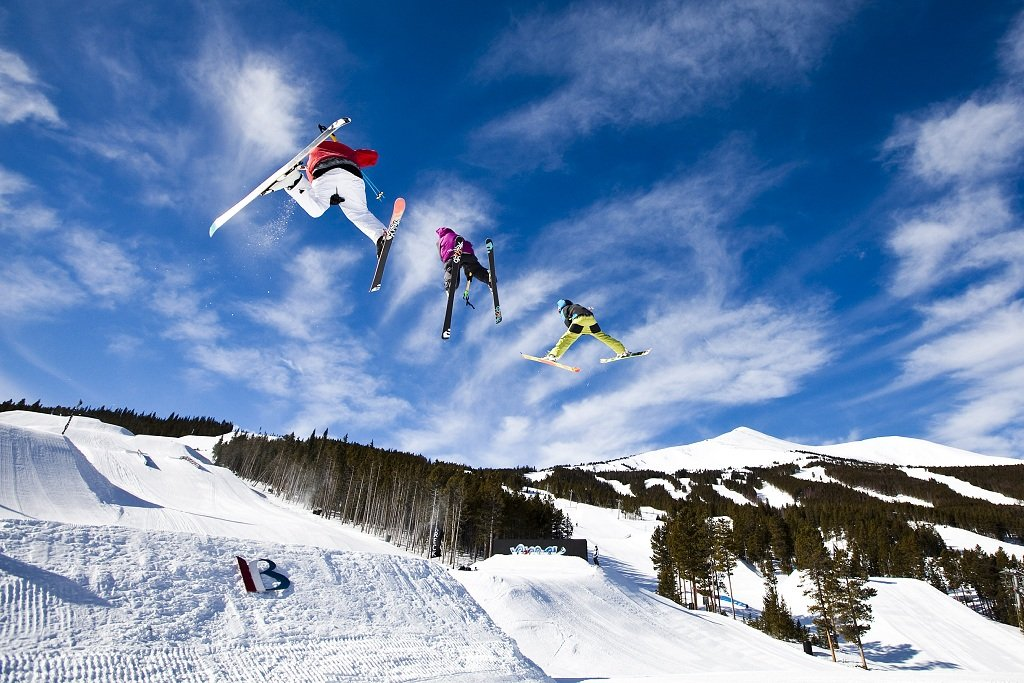 Triple play. Jump Line in Park Lane, Breck. - ©Breckenridge Ski Resort