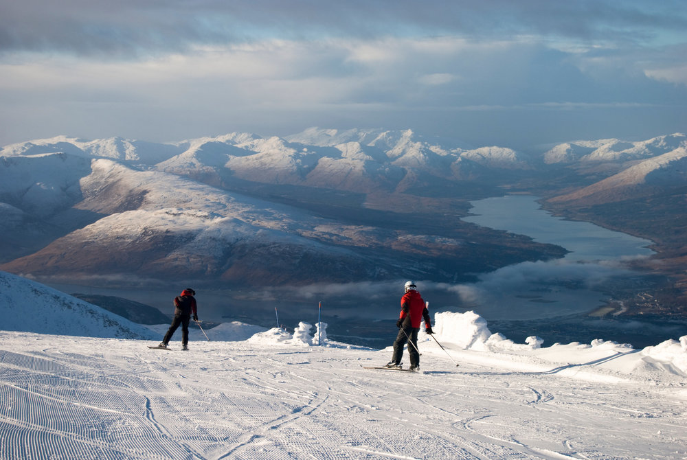 Heading down the slopes at Nevis Range with an awesome view over Fort William - © Charne Hawkes