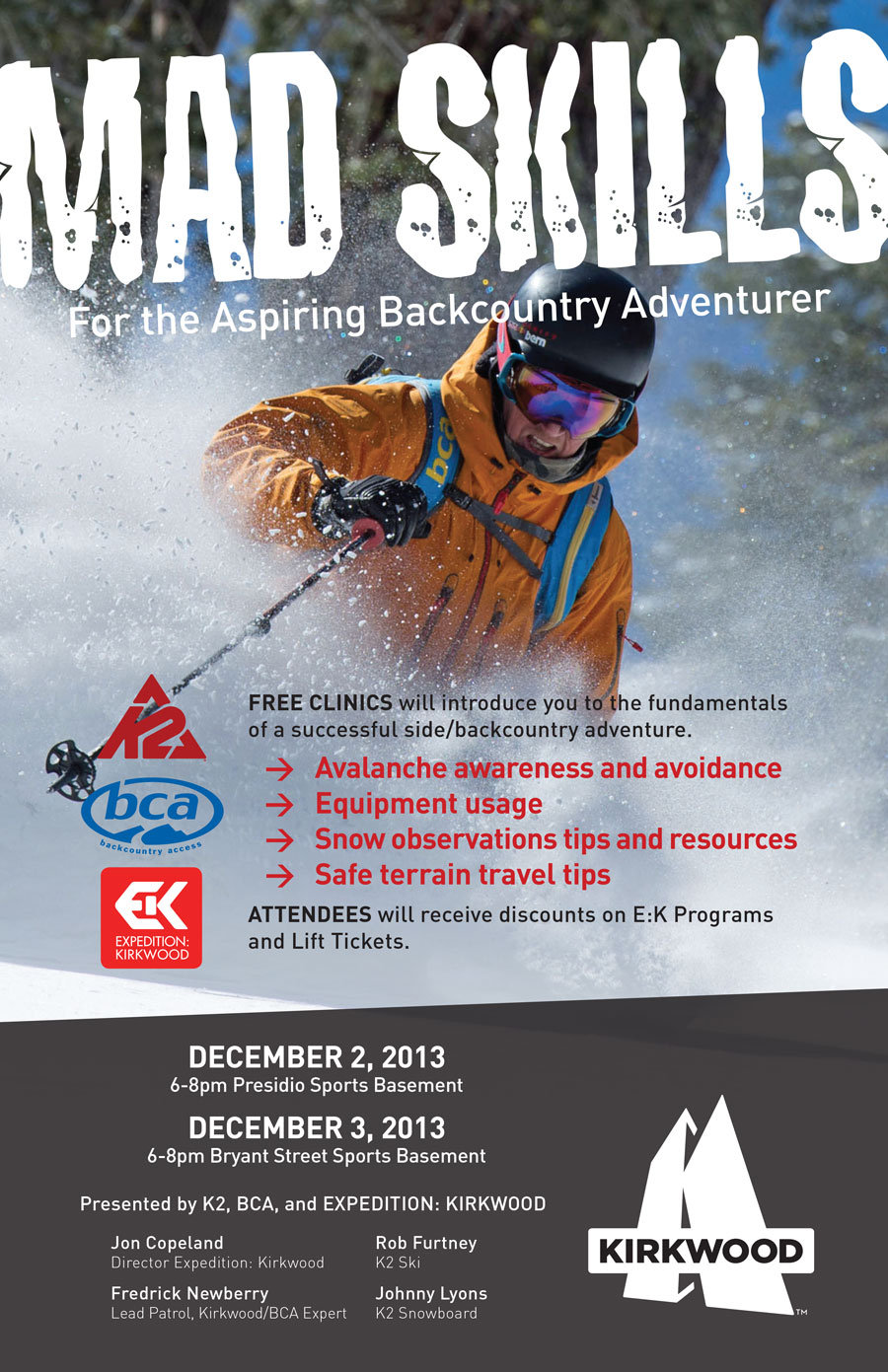 Learn some of the backcountry basics at Sports Basement in San Francisco on Dec 2nd and 3rd. - ©Kirkwood