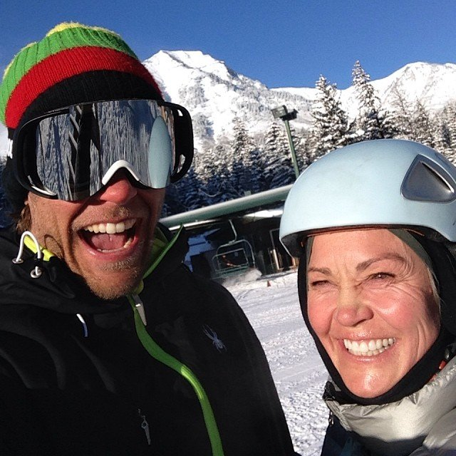 Nyman skiing Sundance with his aunt after a two-foot storm. - © Steven Nyman