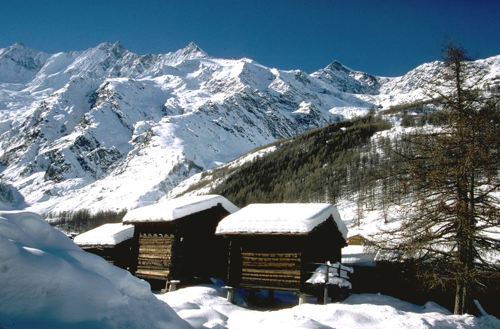 Quaint wooden huts in Saas Fee. Credit Photopress Saas Fee - © Saas Fee