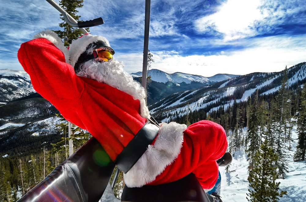 Santa makes a stop at Winter Park to take a few turns. - © Sarah Wieck