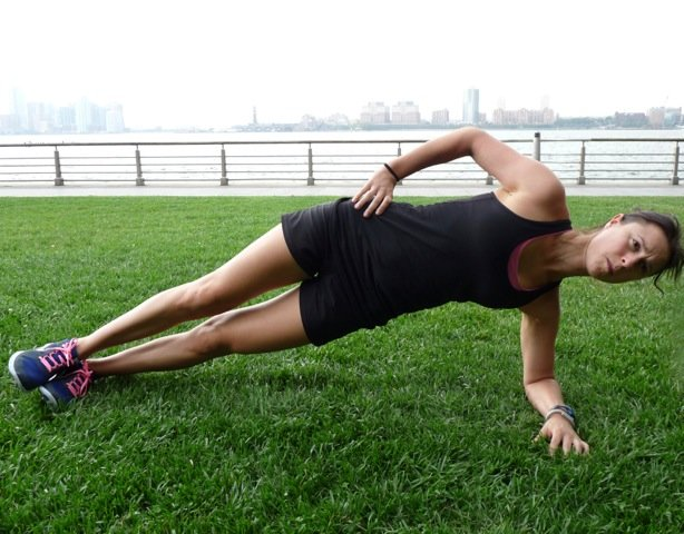 6. Side plank: laying on one side, raise your body up, resting on one elbow and with your feet stacked. Maintain a straight body position. Hold for at least 30 seconds working up to a minute or more. Side planks strengthen the obliques and back. - ©Danielle Shapiro
