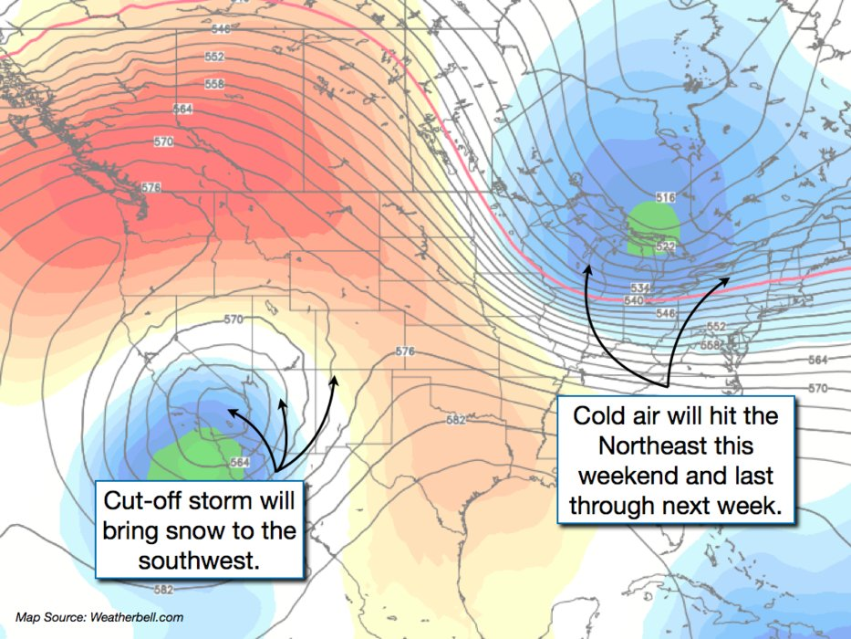 Two storm systems in the corners of the country will be the main drivers of weather in the U.S. over the next week.