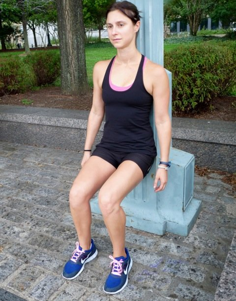 11. Wall squats: rest your back against a wall and squat to 90-degrees, keeping your feet parallel. Hold for 30 seconds working up to two minutes. This exercise builds strength in the quads, hamstrings and gluteal muscles. - ©Danielle Shapiro