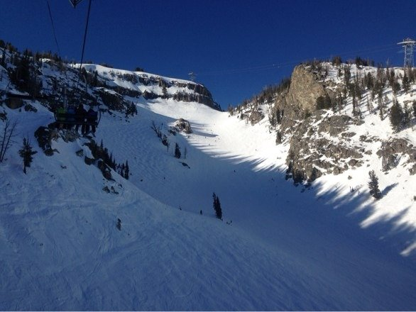 Snow is very packed, but still some crunchy powder in the back trees. BEAUTIFUL!!