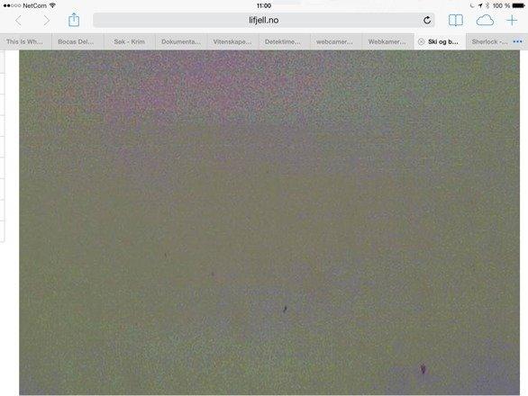 """Fiks webcameraet så vi kan se hvordan været er!  Er det tåkesuppe eller er det sol og fine forhold slik annen info sier? Å """"ta turen"""" når det samsvarer så dårlig er det ikke alle som vil ta sjansen på....."""