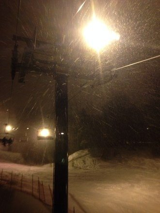 Great conditions last night. Snow fell all evening.