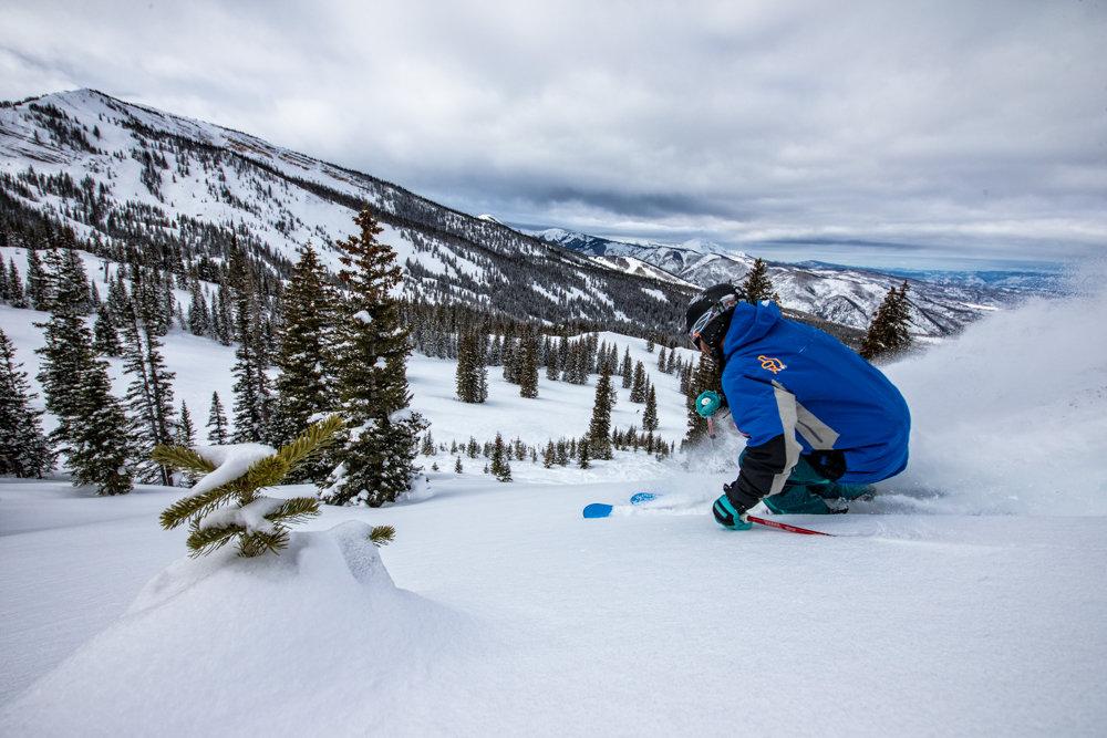 Slicing through another untouched powder stash at Snowmass. Skier G.R. Fielding - ©Liam Doran