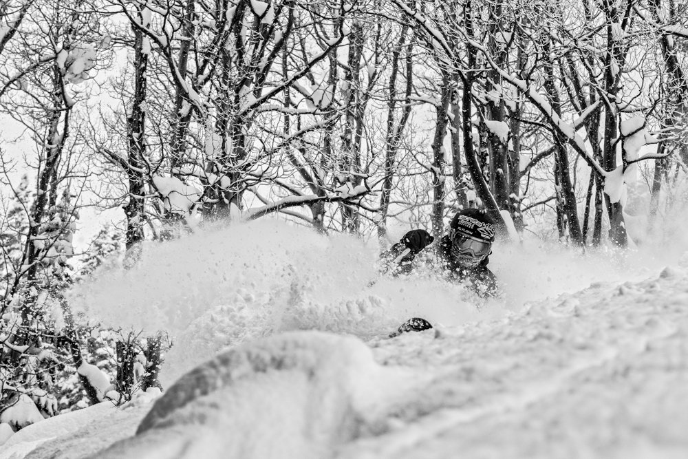 Aspen is loaded up with snow, and TJ David loads up on powder turns. - © Liam Doran