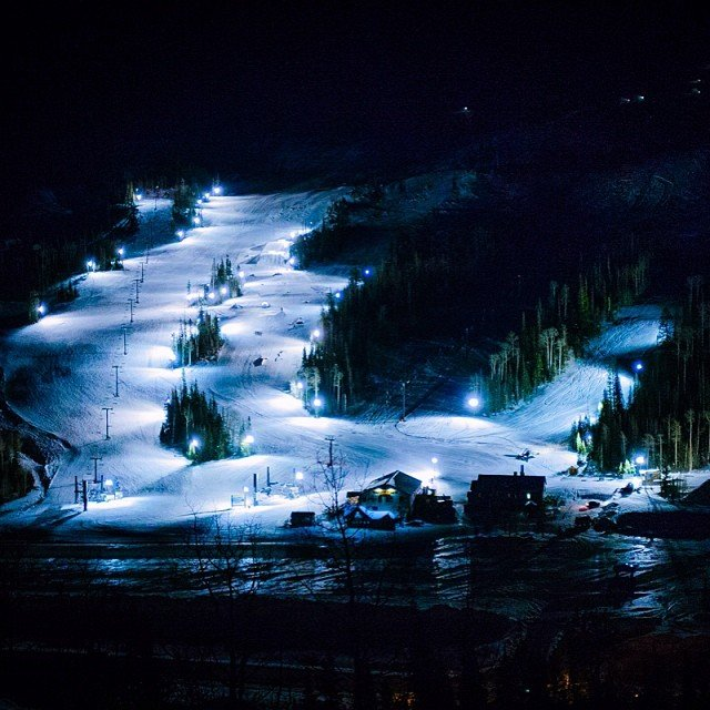 Light up the dark with night skiing at Brian Head Resort. - © Photographer: Mike Saemisch. Courtesy of Brian Head Resort