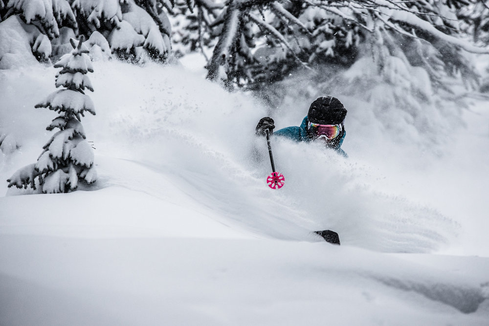 Skier, Keegan Capel in deep again at Sunshine Village. - © Liam Doran