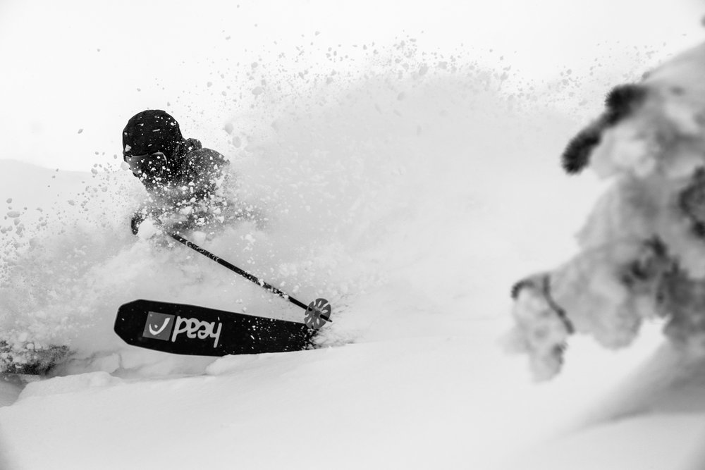 It was a very snowy week in Banff. Skier, Keegan Capel gets yet another powder run at Sunshine. - © Liam Doran