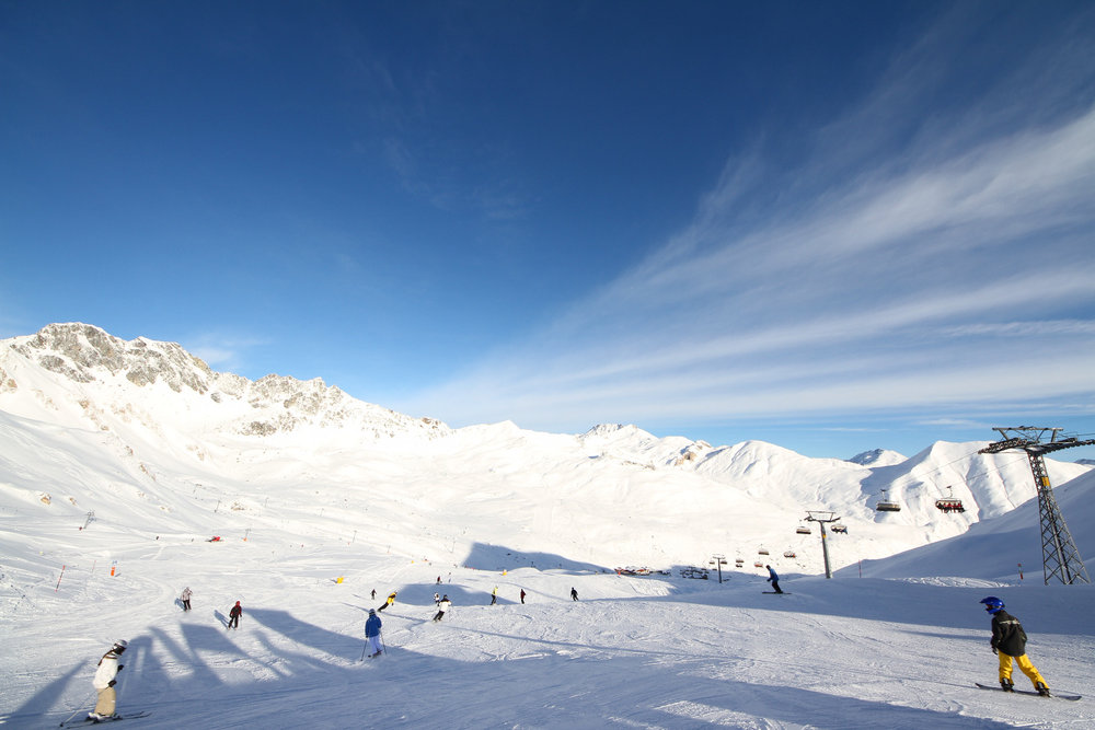 Piste in Samnaun vom Alp Trider Sattel - © Skiinfo