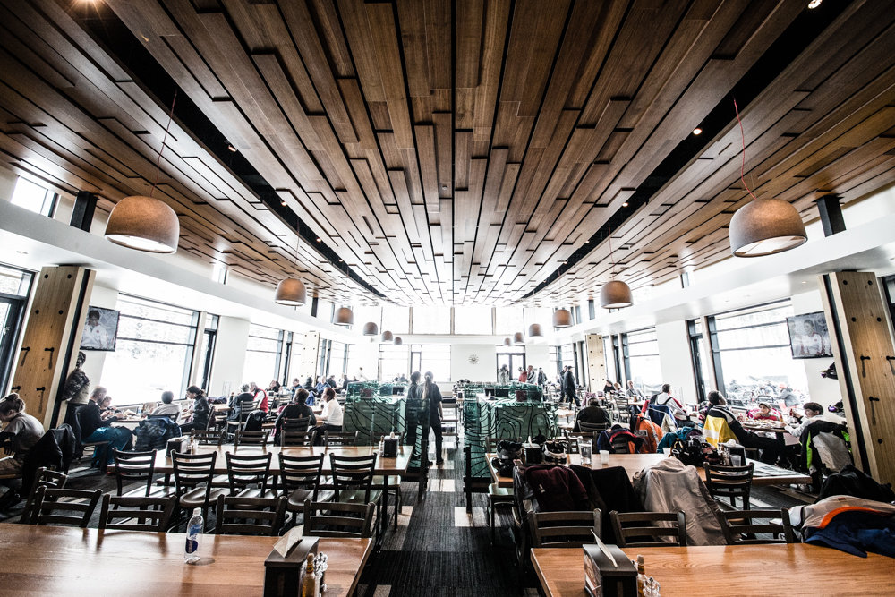It's not your typical ski cafeteria inside. The wood-fired pizzas are a crowd favorite. - © Liam Doran