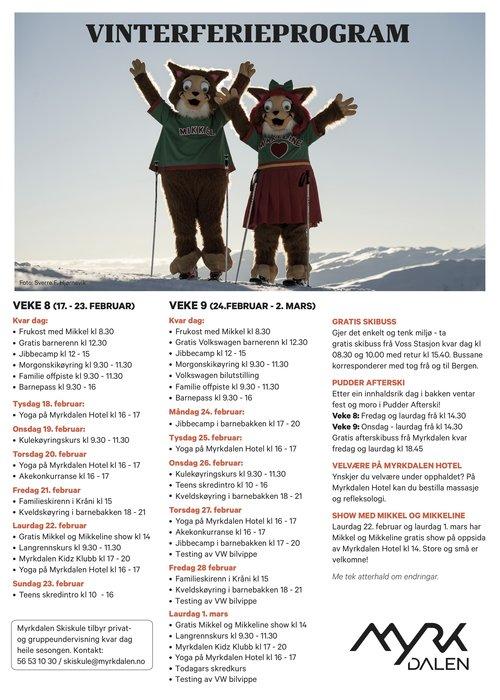 Her er hele programmet for vinterferie i Myrkdalen
