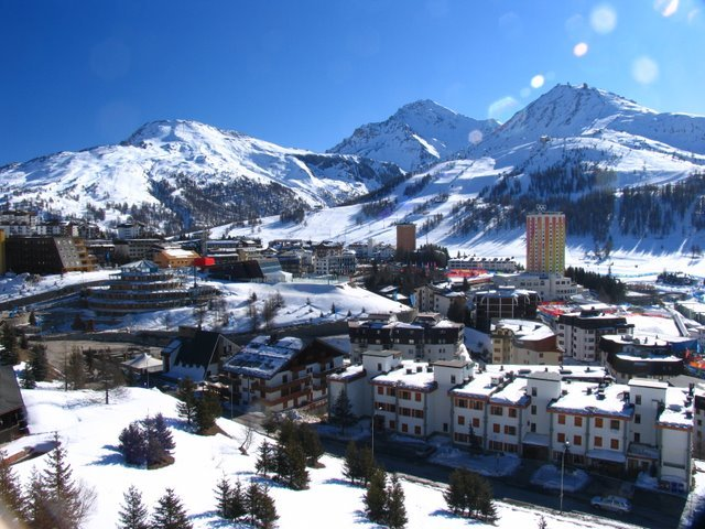 A scenic view of the Olympic Village at Sestriere, Italy.