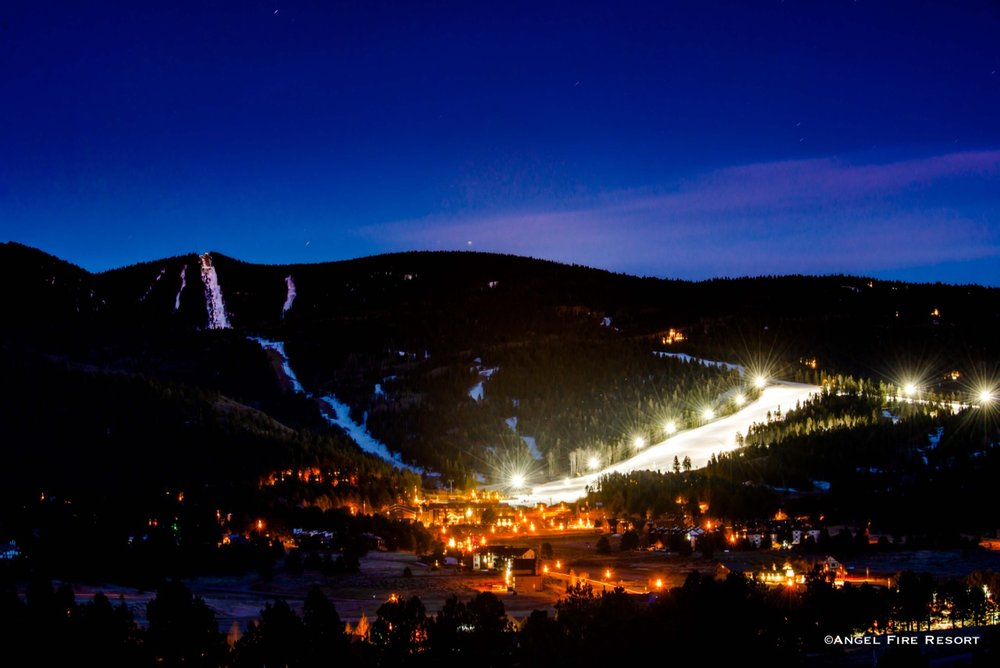 Angel Fire Resort in New Mexico lights up at night. - © Courtesy of Angel Fire Resort