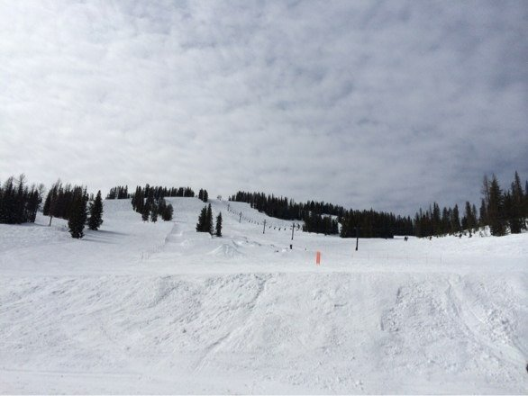 Great day of spring skiing. Off and on blue skies all day and warm spring snow.