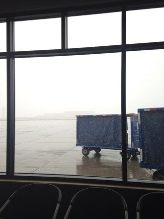 Currently stuck in the Vail Airport because visibility is too low for my plane to land. Guess I'm just going to have to ski another day huh? If it's coming down this hard at the airport then I can only assume that the mountain is getting dumped on.