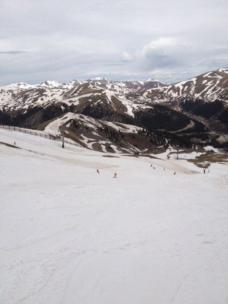 Spacin' at the 'Basin!  June 21st and great conditions for summer skiing.  Pond was HUGE!!