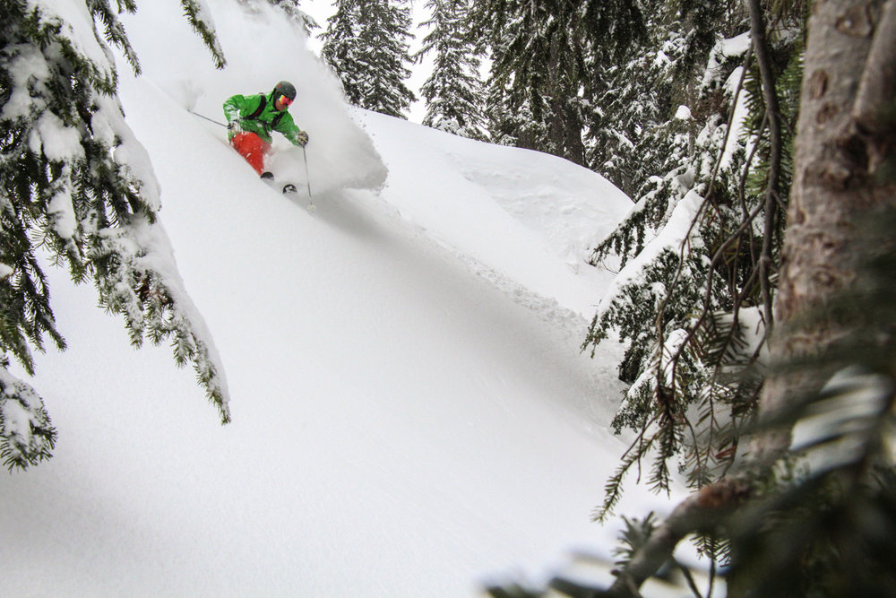 Andy Devore catching a powder day at Summit at Snoqualmie. - ©Karter Riach courtesy of Summit at Snoqualmie
