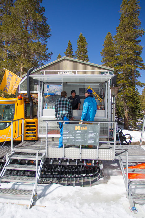 Burritos come by snowcat at Mammoth.  - ©Cody Downard Photography
