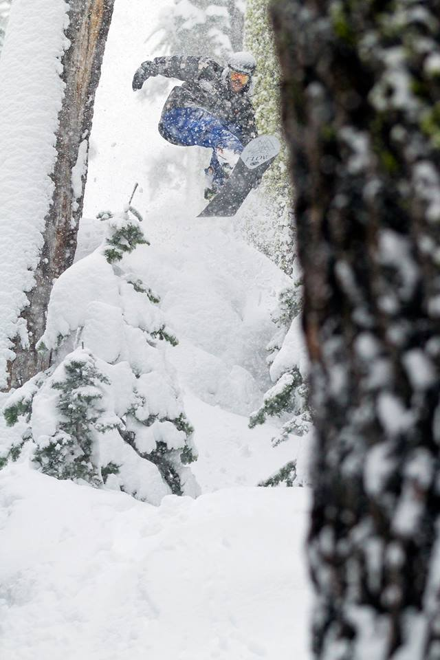 Jordan finding snow pillows in the trees. - © Nathan Vetter