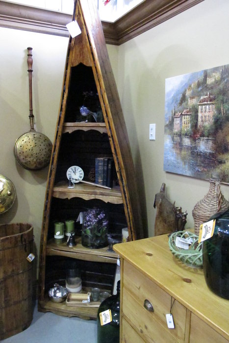 Just off I-70, Ski Country Antiques & Home is full of unique pieces, like this 1/2 canoe shelf.  - ©Heather B. Fried