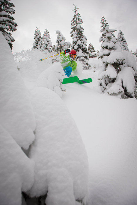 Treeruns met fantastische powder in Squaw Valley, Californië - © Jeff Engerbretson