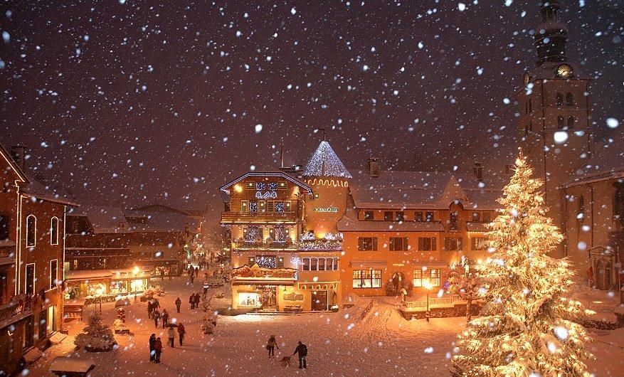 Top family ski resort: Snowy Megeve village at night - ©bionnassay images