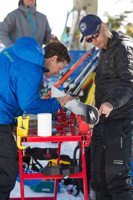 What would we do without our manufacturer friends, tuning test skis on-demand?   - ©Cody Downard Photography