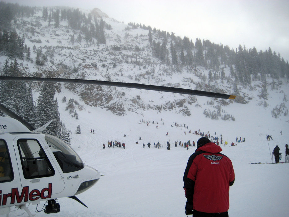 Helicopter and skiers at Snowbird