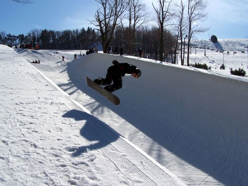 A view of the halfpipe in Seven Springs, Pennsylvania