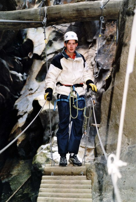 A spelunker at an alpine gorge in Saas Fee.