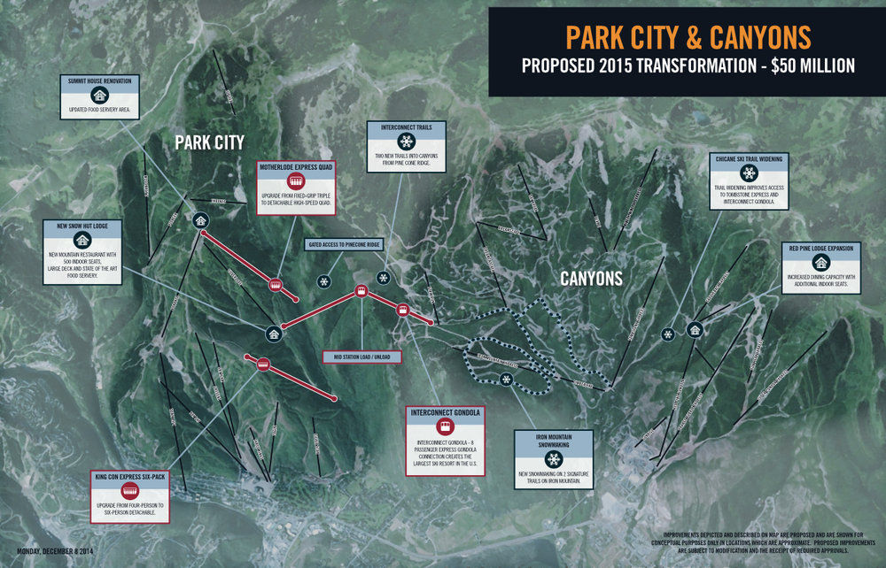 Vail Resorts announced a $50 million improvement plan that will include connecting Park City and Canyons into the largest resort in the U.S. - © Vail Resorts