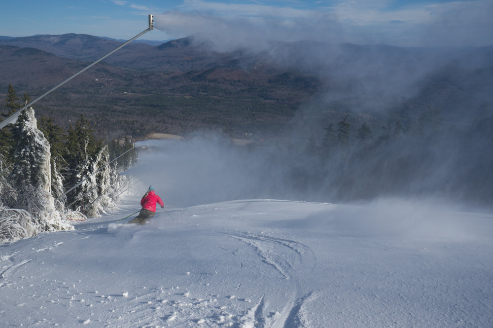 First tracks of the season at Sunday River.