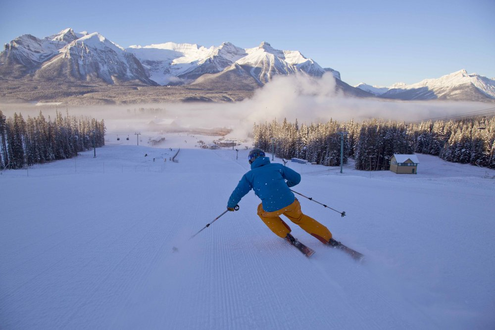 A skier descends Lake Louise on opening day Nov. 13, 2014.  - © Chris Moseley