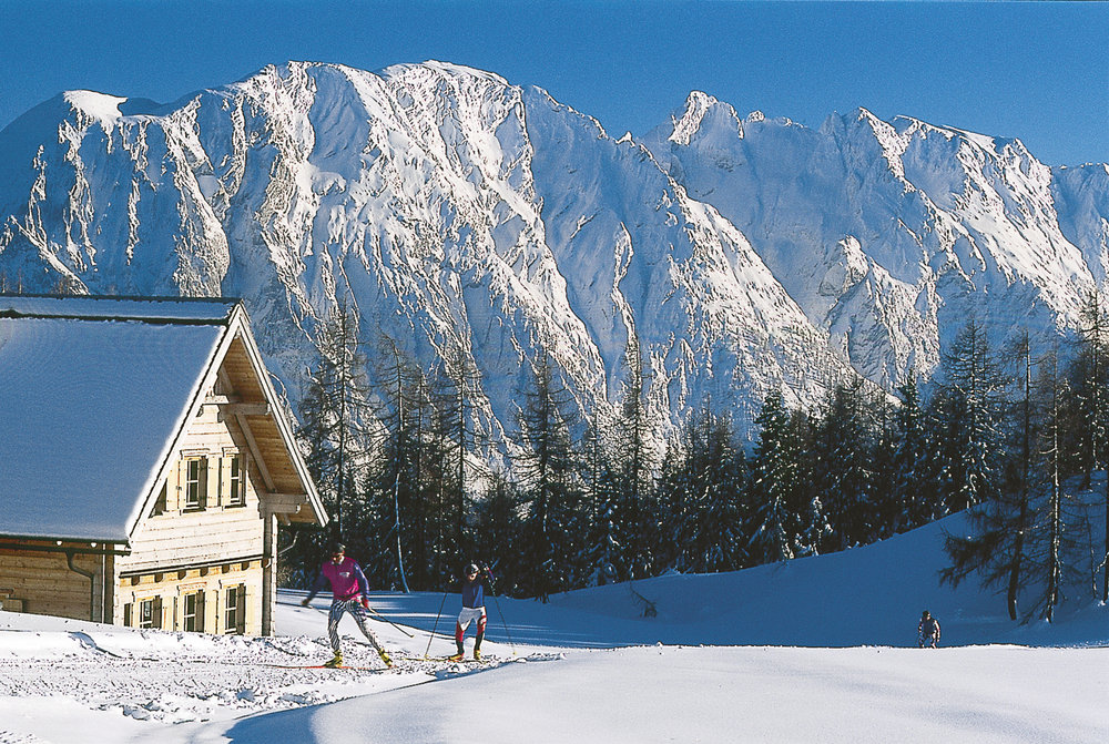 A crosscountry skier in Tauplitz.